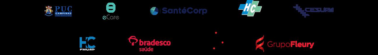 Confiado por eCare, PUC Campinas, HC Unicamp, SantéCorp, HC FMUSP, Bradesco, Unicamp, Grupo Fleury e Cesupa